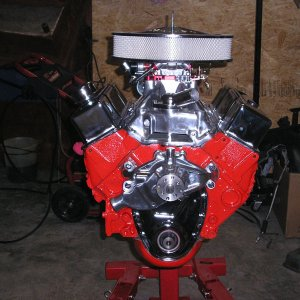 350 wirh a 383 stroker 12.5 compression, 64 cc heads should push 500 HP.