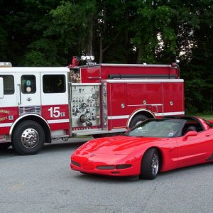 Dads Vette with Fire Truck