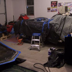 Garage turned into a paint shop!