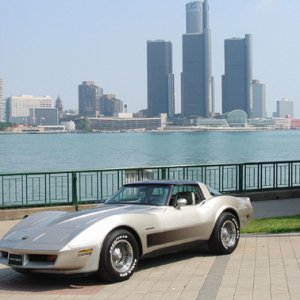 My Vette in front of GM Headquarters