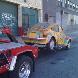 Peter Max Corvettes (and one VW) get moved