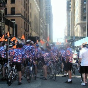 A biking group just outside the Twin Towers