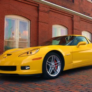 Z06 on cobblestone street and old brick