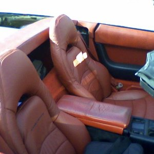 1992 Grandsport Inspired C5 seat in custom flame red leather